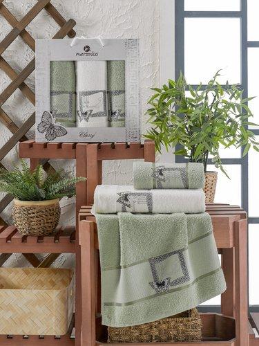 Подарочный набор полотенец для ванной 50х90(2), 70х140(1) Merzuka CLASSY хлопковая махра зеленый, фото, фотография