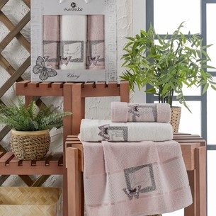 Подарочный набор полотенец для ванной 50х90(2), 70х140(1) Merzuka CLASSY хлопковая махра светло-розовый