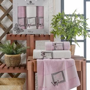 Подарочный набор полотенец для ванной 50х90(2), 70х140(1) Merzuka CLASSY хлопковая махра сиреневый