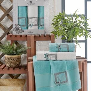 Подарочный набор полотенец для ванной 50х90(2), 70х140(1) Merzuka CLASSY хлопковая махра бирюзовый