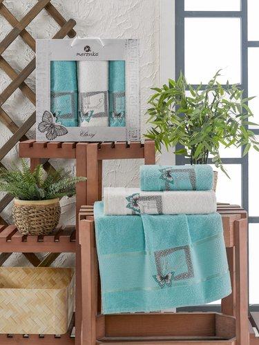 Подарочный набор полотенец для ванной 50х90(2), 70х140(1) Merzuka CLASSY хлопковая махра бирюзовый, фото, фотография