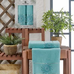 Подарочный набор полотенец для ванной 50х90, 70х140 Merzuka DAYSTAR хлопковая махра бирюзовый