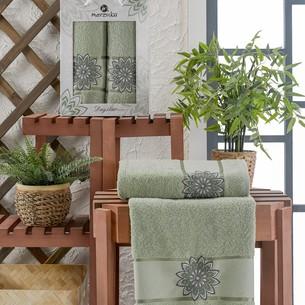 Подарочный набор полотенец для ванной 50х90, 70х140 Merzuka DAYSTAR хлопковая махра зеленый