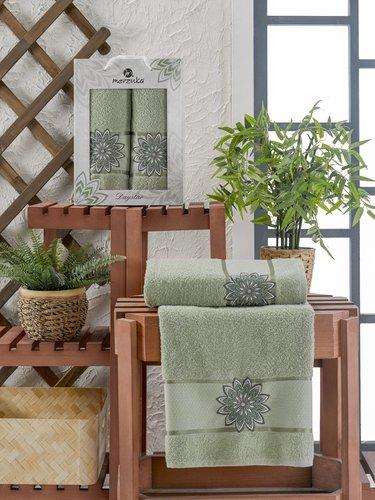 Подарочный набор полотенец для ванной 50х90, 70х140 Merzuka DAYSTAR хлопковая махра зеленый, фото, фотография