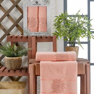 Подарочный набор полотенец для ванной 50х90, 70х140 Merzuka DAYSTAR хлопковая махра оранжевый