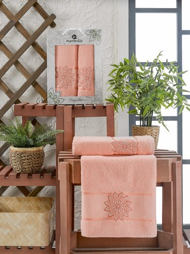Подарочный набор полотенец для ванной 50х90, 70х140 Merzuka DAYSTAR хлопковая махра оранжевый, фото, фотография