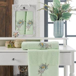 Подарочный набор полотенец для ванной 50х90, 70х140 Merzuka LOTUS хлопковая махра фисташковый