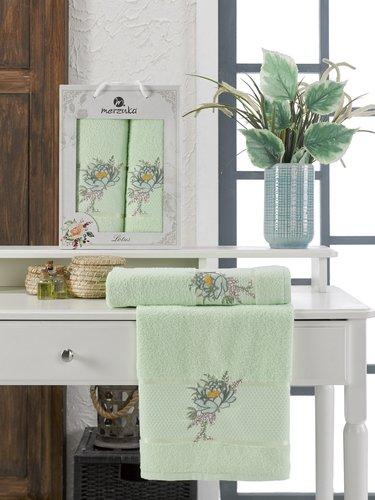 Подарочный набор полотенец для ванной 50х90, 70х140 Merzuka LOTUS хлопковая махра фисташковый, фото, фотография