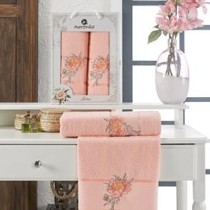 Подарочный набор полотенец для ванной 50х90, 70х140 Merzuka LOTUS хлопковая махра оранжевый