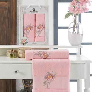 Подарочный набор полотенец для ванной 50х90, 70х140 Merzuka LOTUS хлопковая махра розовый