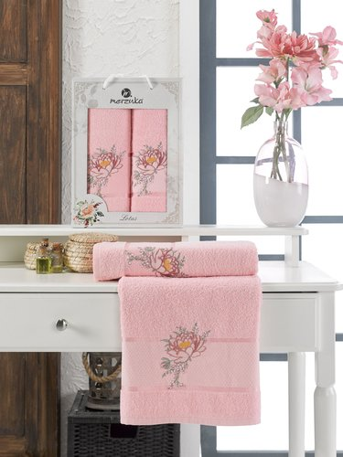 Подарочный набор полотенец для ванной 50х90, 70х140 Merzuka LOTUS хлопковая махра розовый, фото, фотография