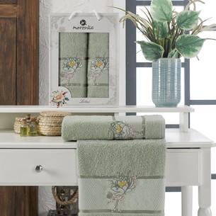 Подарочный набор полотенец для ванной 50х90, 70х140 Merzuka LOTUS хлопковая махра зеленый
