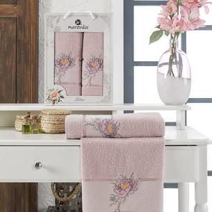 Подарочный набор полотенец для ванной 50х90, 70х140 Merzuka LOTUS хлопковая махра светло-розовый