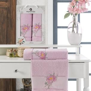 Подарочный набор полотенец для ванной 50х90, 70х140 Merzuka LOTUS хлопковая махра сиреневый