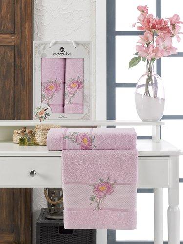 Подарочный набор полотенец для ванной 50х90, 70х140 Merzuka LOTUS хлопковая махра сиреневый, фото, фотография