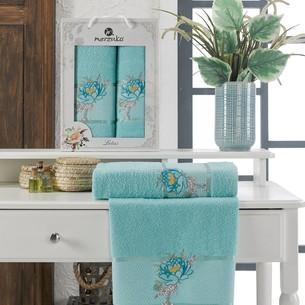 Подарочный набор полотенец для ванной 50х90, 70х140 Merzuka LOTUS хлопковая махра бирюзовый