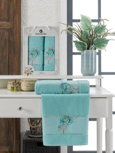 Подарочный набор полотенец для ванной 50х90, 70х140 Merzuka LOTUS хлопковая махра бирюзовый, фото, фотография