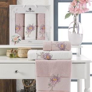 Подарочный набор полотенец для ванной 50х90(2), 70х140(1) Merzuka LOTUS хлопковая махра светло-розовый