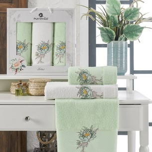 Подарочный набор полотенец для ванной 50х90(2), 70х140(1) Merzuka LOTUS хлопковая махра фисташковый