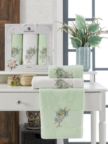 Подарочный набор полотенец для ванной 50х90(2), 70х140(1) Merzuka LOTUS хлопковая махра фисташковый, фото, фотография