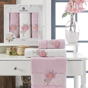 Подарочный набор полотенец для ванной 50х90(2), 70х140(1) Merzuka LOTUS хлопковая махра сиреневый