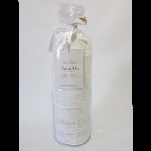Простынь на резинке с наволочками Maison Dor FITTED CIZGILI хлопковый сатин белый 100х200+28