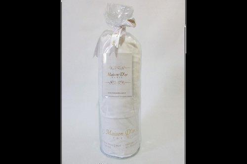 Простынь на резинке с наволочками Maison Dor FITTED CIZGILI хлопковый сатин белый 160х180+28, фото, фотография