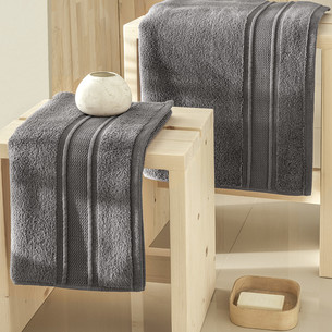 Полотенце для ванной Karna VIANA ZERO TWIST микрокоттон хлопок тёмно-серый 50х90