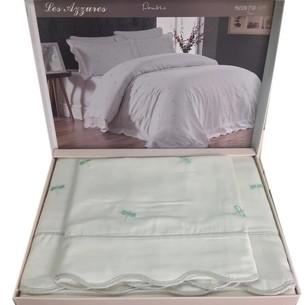 Постельное белье Maison Dor LES AZZURES хлопковый сатин кремово-бирюзовый евро
