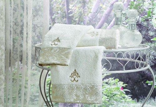 Набор полотенец-салфеток в подарочной упаковке 30х50 см (2 шт.) Tivolyo Home VITALY хлопковая махра кремовый, фото, фотография