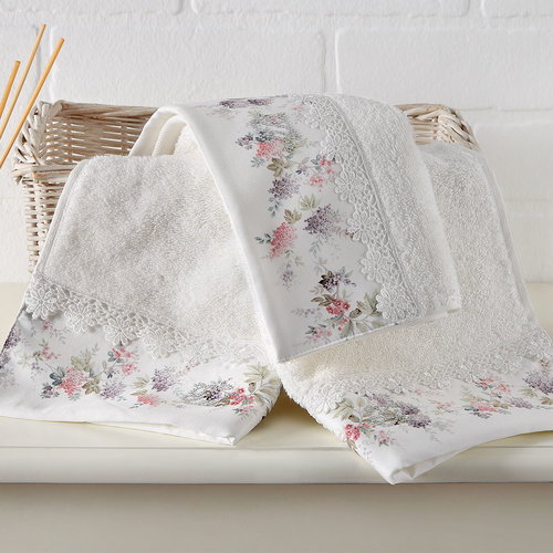 Набор полотенец-салфеток в подарочной упаковке 30х50 см (2 шт.) Tivolyo Home VERSAILLES хлопковая махра кремовый, фото, фотография