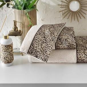 Подарочный набор полотенец-салфеток 30х50 см (2 шт.) Tivolyo Home TIGER хлопковая махра коричневый