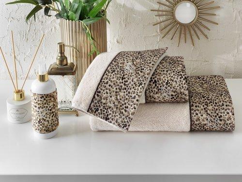Подарочный набор полотенец-салфеток 30х50 см (2 шт.) Tivolyo Home TIGER хлопковая махра коричневый, фото, фотография