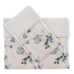 Подарочный набор полотенец-салфеток 30х50 см (2 шт.) Tivolyo Home ROSELAND хлопковая махра кремовый
