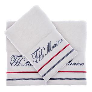 Подарочный набор полотенец-салфеток 30х50 см (2 шт.) Tivolyo Home NAVY хлопковая махра белый