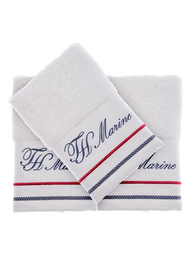 Подарочный набор полотенец-салфеток 30х50 см (2 шт.) Tivolyo Home NAVY хлопковая махра белый, фото, фотография