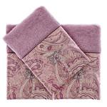 Подарочный набор полотенец-салфеток 30х50 см (2 шт.) Tivolyo Home ETTO хлопковая махра фиолетовый, фото, фотография