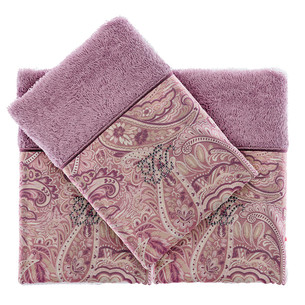 Подарочный набор полотенец-салфеток 30х50 см (2 шт.) Tivolyo Home ETTO хлопковая махра фиолетовый