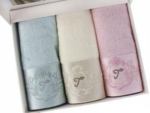 Набор полотенец-салфеток в подарочной упаковке 30х50 см (3 шт.) Tivolyo Home CRYSTAL бамбуко-хлопковая ассорти, фото, фотография