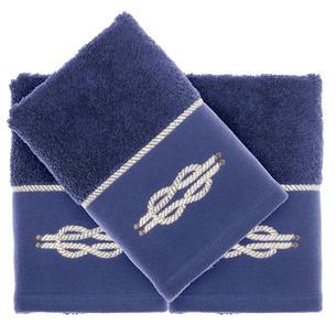 Подарочный набор полотенец-салфеток 30х50 см (2 шт.) Tivolyo Home ANCHOR хлопковая махра синий