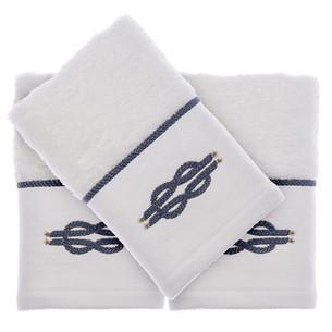 Подарочный набор полотенец-салфеток 30х50 см (2 шт.) Tivolyo Home ANCHOR хлопковая махра белый