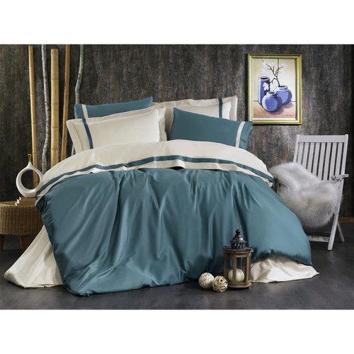 Постельное белье Grazie Home ELITE хлопковый сатин делюкс голубой+бежевый евро, фото, фотография