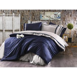 Постельное белье Grazie Home ELITE хлопковый сатин делюкс тёмно-синий+серый евро