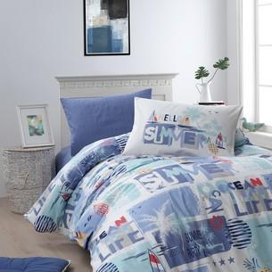 Детское постельное белье DO&CO SUMMER хлопковый ранфорс голубой 1,5 спальный