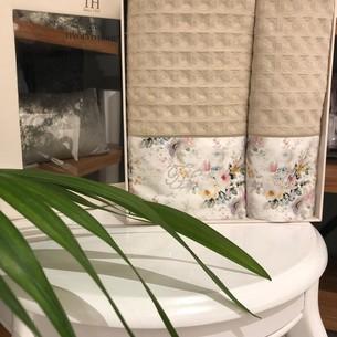 Подарочный набор полотенец для ванной 2 пр. Tivolyo Home FINOLA хлопковая вафля бежевый
