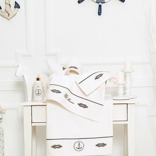 Подарочный набор полотенец для ванной 3 пр. + тапочки Tivolyo Home MARINE TOWEL хлопковая махра кремовый