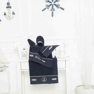Подарочный набор полотенец для ванной 3 пр. + тапочки Tivolyo Home MARINE TOWEL хлопковая махра тёмно-синий