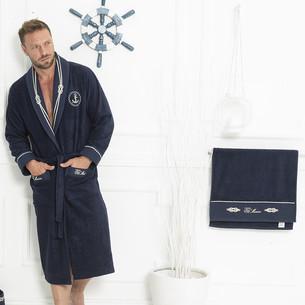 Подарочный набор с халатом Tivolyo home MARINE хлопковая махра тёмно-синий 2XL
