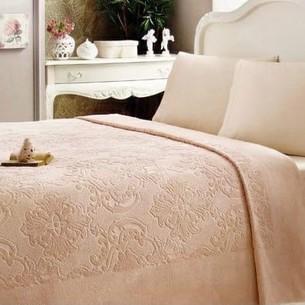 Постельное белье с махровой простынью-покрывалом Tivolyo Home JADORE хлопок персиковый евро