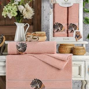 Подарочный набор полотенец для ванной 50х90, 70х140 Two Dolphins TIGER хлопковая махра пудра